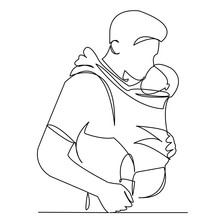 Dad With Baby In The Sling