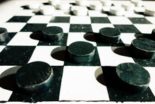 Dusty Ancient Wooden Checkers ...