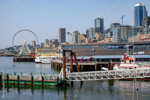Photo  View of the Seattle Washington Skyline from the Ferry Pier at the Waterfront