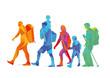Wanderer, bergsteigen, Personen und Familie