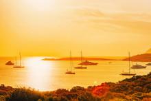 Yachts At Porto Rotondo At Sunrise Mediterranean Sea Sardinia Italy