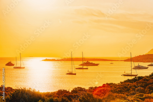 Photo  Yachts at Porto Rotondo at sunrise Mediterranean Sea Sardinia Italy