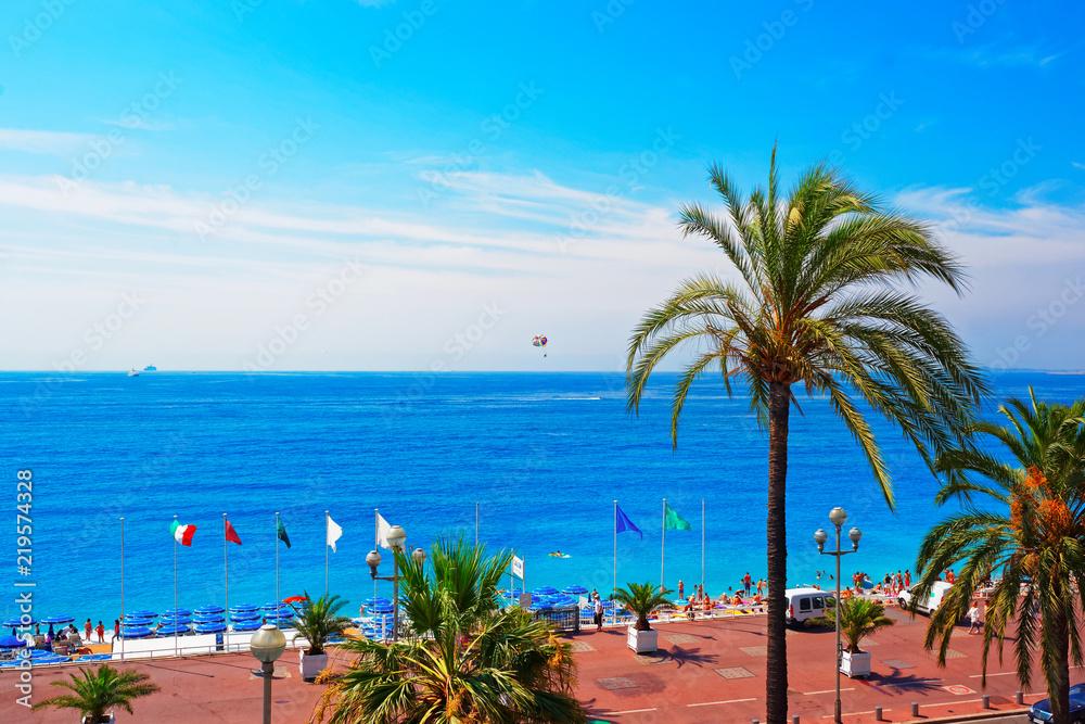 Fototapety, obrazy: English promenade in Nice France in summer