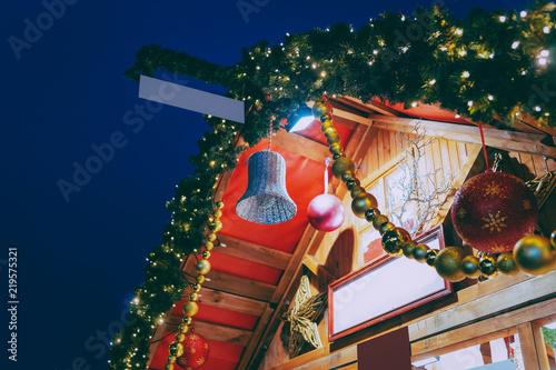 Foto op Plexiglas Kerstmis Decorations at Night Christmas Market at Town Hall in Berlin