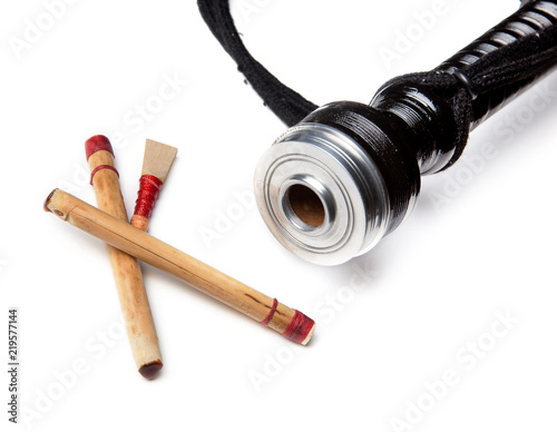 Canvas Print Reeds of bagpipes isolated