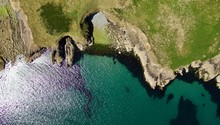Aerial View Of The Pembrokeshire Coastline In Wales UK In Summer