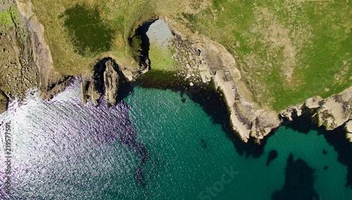 Aerial view of the Pembrokeshire coastline in Wales UK in summer Wallpaper Mural