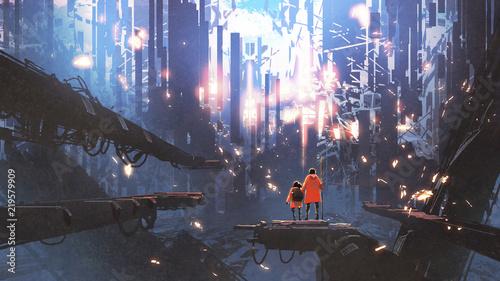 ojciec i jego córka patrząc na abstrakcyjne miasto latające wokół nich świecące cząsteczki, styl sztuki cyfrowej, malarstwo ilustracyjne