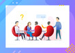 Team leader meeting at a big table. Startup Company. Teamwork processes or business conference. Man have a question. Conceptual Modern and Trendy colorful vector illustration for landing page.