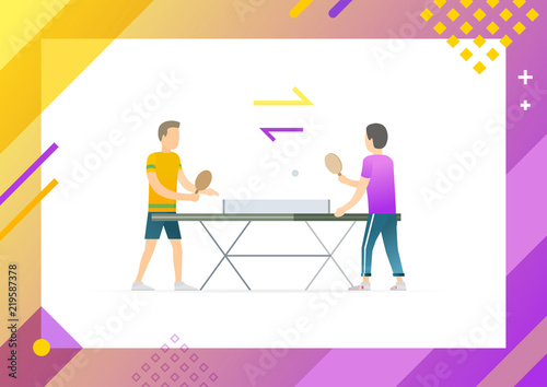Sport Team In Process Of Playing Table Tennis With Help Wooden Rackets Ping Pong Tournament Professional Players Framed Vector Ilration
