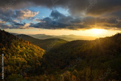Scenic sunrise over fall foliage, Blue Ridge Mountains, North Carolina Canvas Print