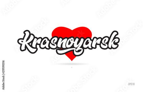 Fototapeta krasnoyarsk city design typography with red heart icon logo obraz