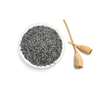 Bowl With Poppy Seeds On White Background, Top View