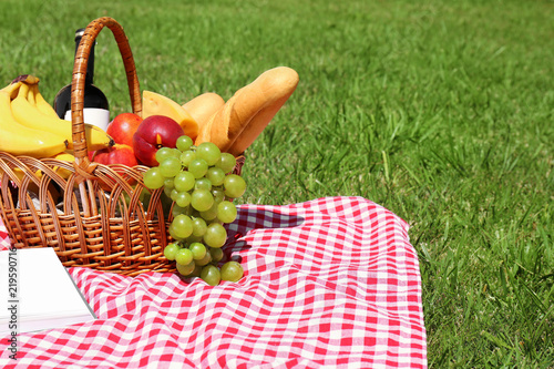 Aluminium Prints Picnic Basket with food on blanket prepared for picnic in park