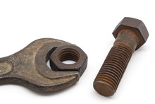 Rusty Bolt And Nut Isolated On White Background.