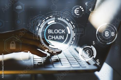 Fotografia  Blockchain and security concept