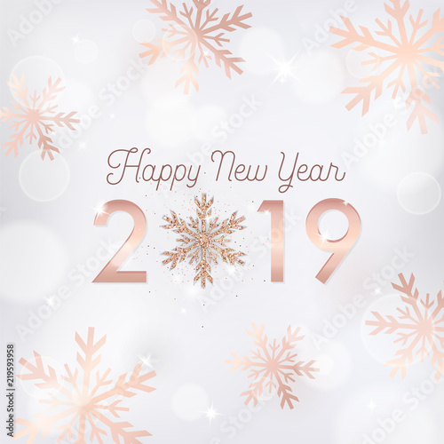 Fototapeta Elegant New Year Card With Rose Gold Glitter Snowflakes For Invitation Greetings Or Flyer And Merry Christmas Brochure 2019