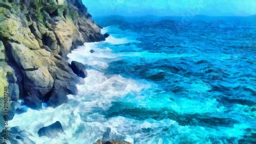 Foto auf Acrylglas Bestsellers Oil painting. Art print for wall decor. Acrylic artwork. Big size poster. Watercolor drawing. Modern style fine art. Painting for sale. Beautiful nature landscape. Wonderful sea view. Mountain. Sea.