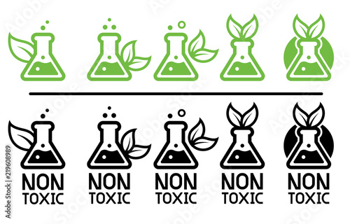 Obraz na plátně Green care and non-toxic from science technology (leaf& Eco chemical icon concept)