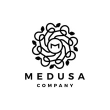 M Letter Medusa Gorgona Logo V...