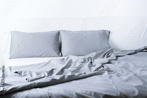 Photo Bedding Sheet Pillow Coverlet Bed Concept Interior
