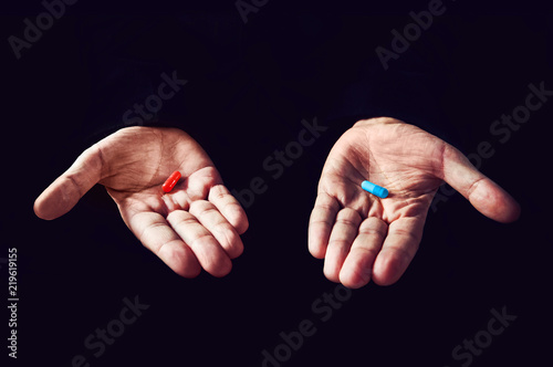 Red Pill Blue Pill concept Canvas Print