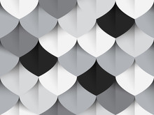 Seamless Pattern, Simple Fish Scale Shapes With Shadow, Pastel Black And Grey Tones