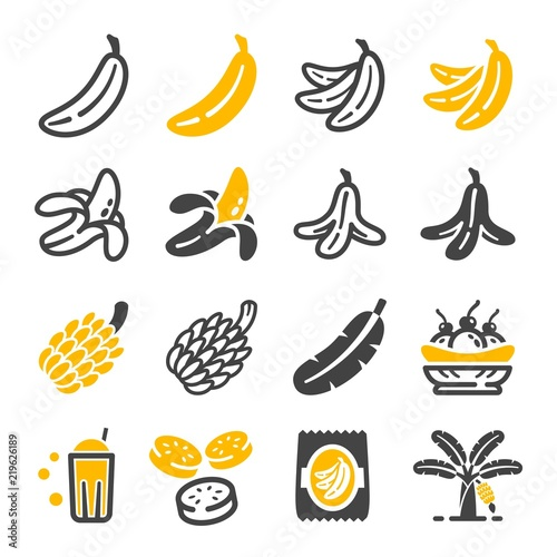 Leinwand Poster banana icon set