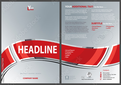 Silver Flyer Template with Red Waved Banner with Metallic