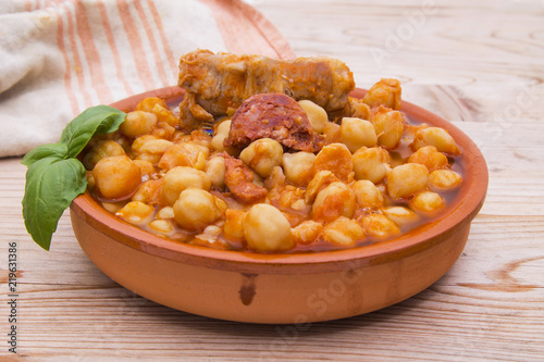 casserole of stewed chickpeas with meat and chorizo