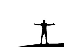 Silhouette Happy Man Rise Hand...