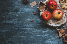 Autumn Background With Copy Space. Delicious Autumn Caramel Apples With Autumn Decoration, Top View