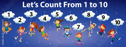 Mathematics count number to 10 Canvas-taulu