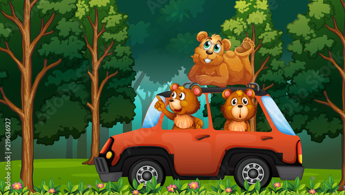 Staande foto Kids A group of bear travel in the forest by car