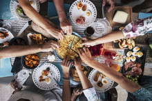 Food Catering Cuisine Culinary Gourmet Party Cheers Concept Friendship And Dinner Together. Mobile Phones On The Table, Pattern And Background Colorful Image With People Eating And Taking Food