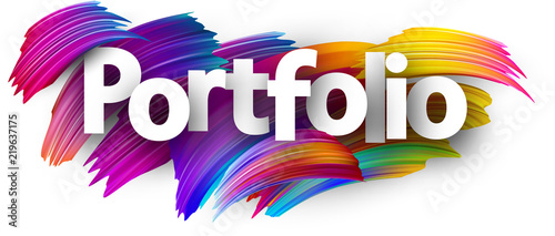 Fototapeta Portfolio paper poster with colorful brush strokes. obraz