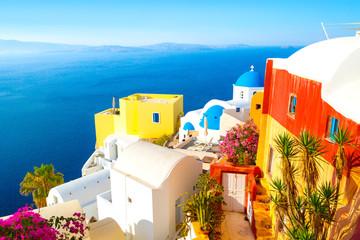 Fototapeta Architektura View of Oia the most beautiful village of Santorini Island in Greece.