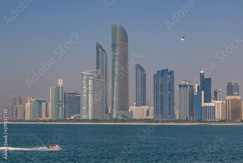 Abu Dhabi - like in the nearby Dubai, in Abu Dhabi there is a very rich skyline. Here in particular the sky scrapers of the Corniche Beach
