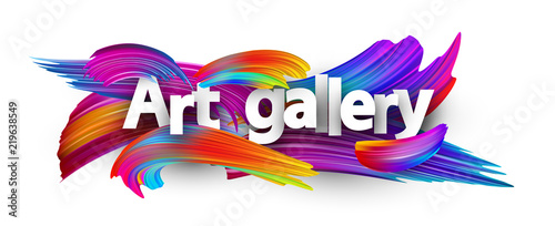 Fototapeta Art gallery paper poster with colorful brush strokes. obraz