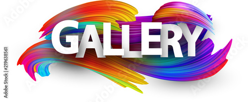 Fotografía  Gallery paper poster with colorful brush strokes.
