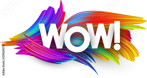 Wow paper poster with colorful brush strokes. Canvas-taulu