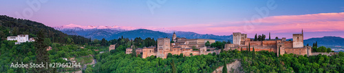 Poster Con. Antique Colorful sunset over Alhambra
