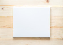 Blank Canvas Frame Mockup Rectangular Size On White Wood Wall For Arts Painting And Photo Hanging Interior Decoration
