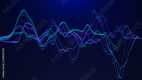 Abstract background with dynamic waves. Big data visualization. Sound wave element. Technology equalizer for music.