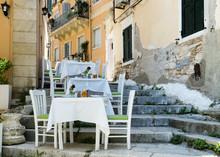 Street Restaourent In Mediterranean Town, Kerkyra, Corfu