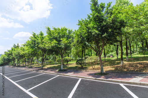 Fotografie, Obraz  Urban open-air parking lot and park trees landscape in summer