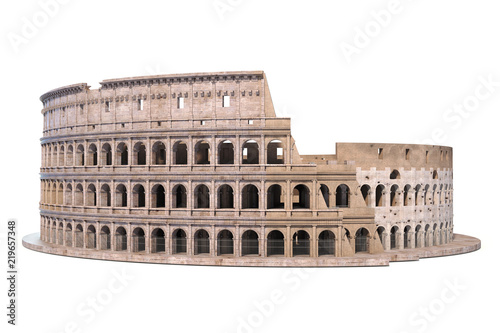 Coliseum, Colosseum isolated on white Wallpaper Mural
