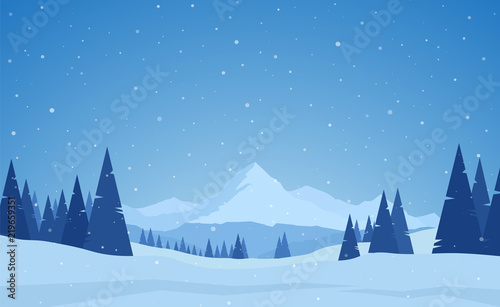 Vector illustration: Winter snowy calm Mountains landscape with pines, hills and snowflakes