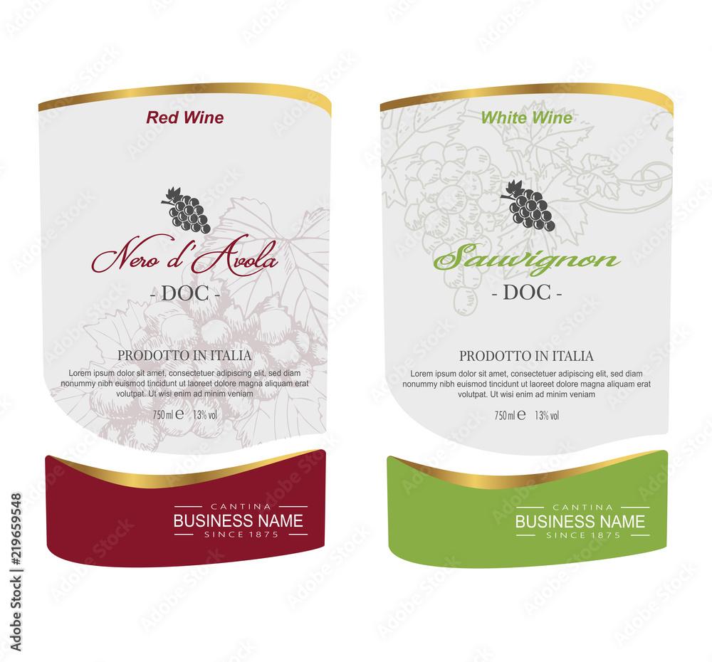 Fototapeta Set of Vector wine label