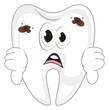tooth, teeth, enamel, bone, hands, show, gesture, not good, bad, sad, un happy, caries